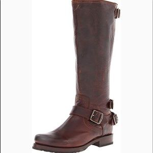 """Frye """"VERONICA"""" Leather Boots in burgundy/black"""